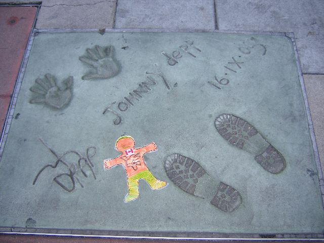 Everybody in my class back on Vancouver Island loves Johnny Depp. My feet almost fit in his footprints. Almost.